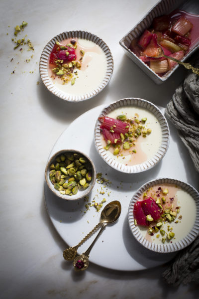 Vanilla Bean Pannacotta With Roasted Rhubarb And Chopped Pistachios
