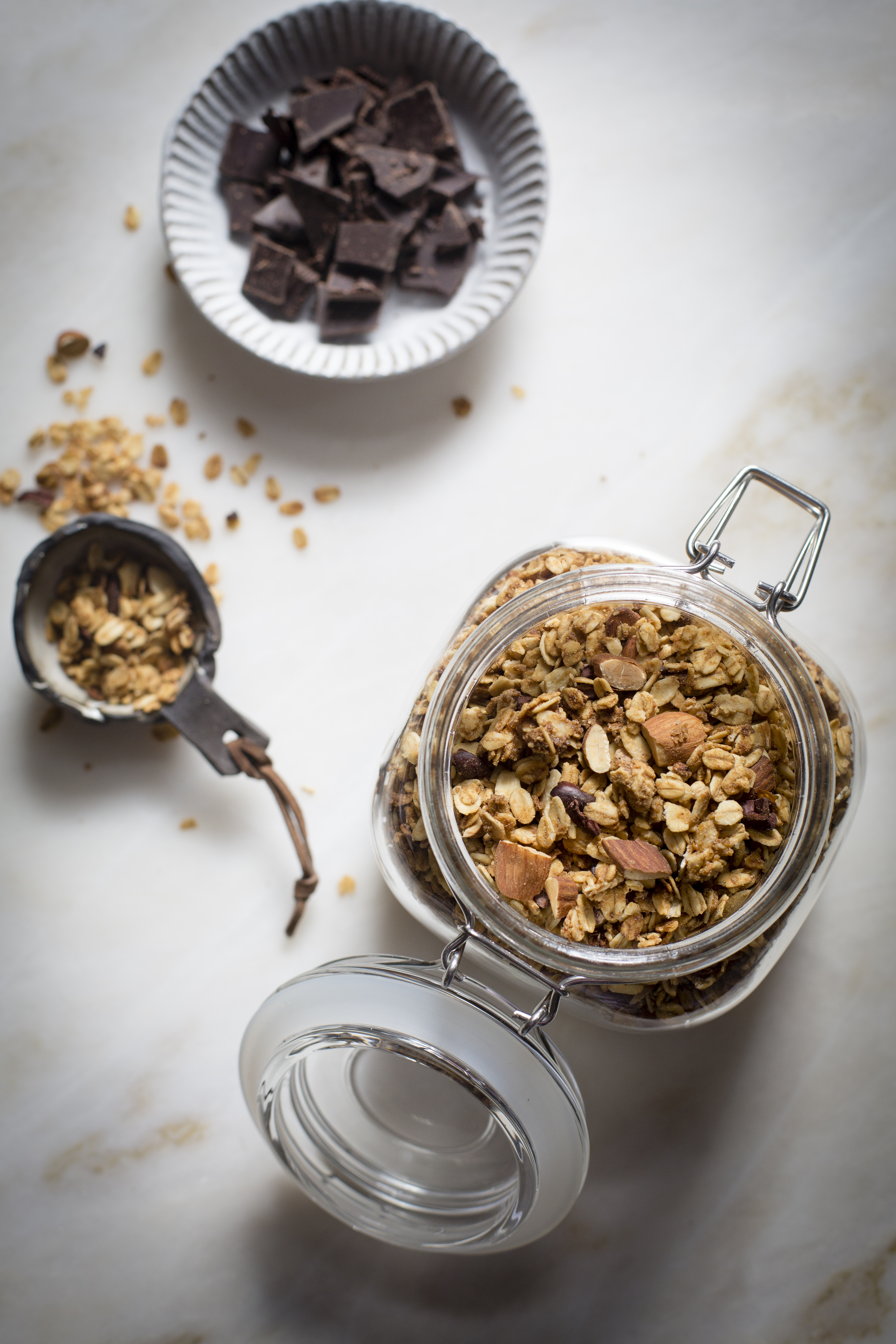 PEANUT BUTTER GRANOLA WITH COCOA NIBS AND BITTERSWEET CHOCOLATE